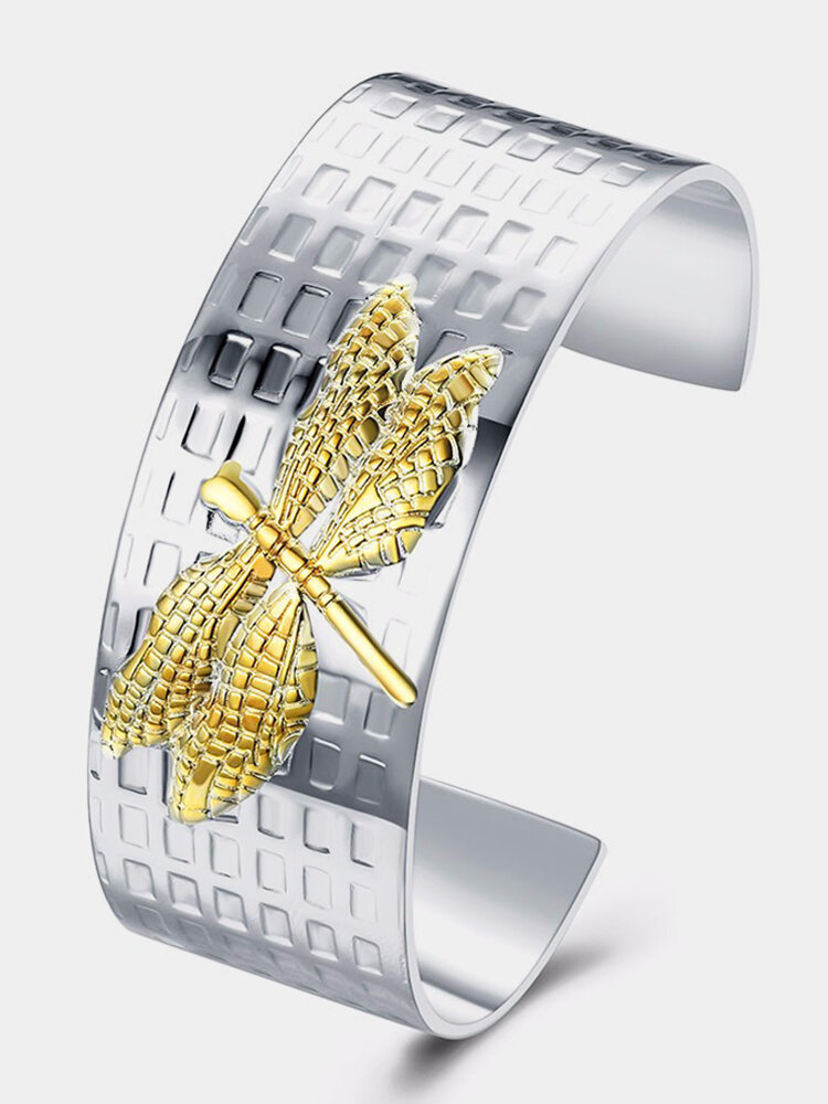 YUEYIN® Open-end Silver Plated Gold Dragonfly Bracelet