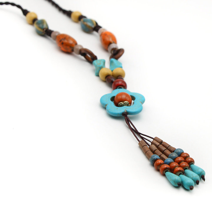 Ethnic Womens Long Necklaces Vintage Handmade Ceramic Flower Wood Bead Tassel Necklaces Gift