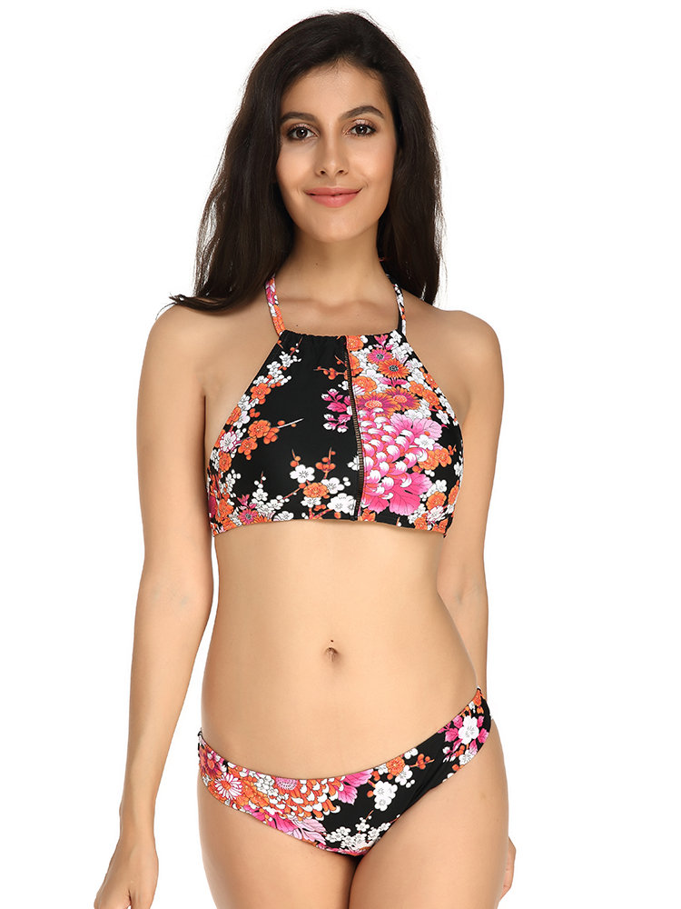 990cd31049814 KISSLACE Sexy Printed High Neck Halter String Scoop Back Bikinis Swimsuits  For Women - Newchic
