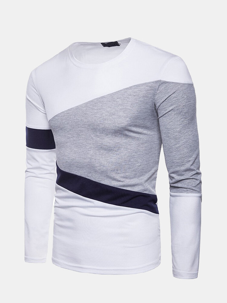 Men's Casual Patchwork Round Neck Slim Fit Long Sleeve Basic Simple T-shirt