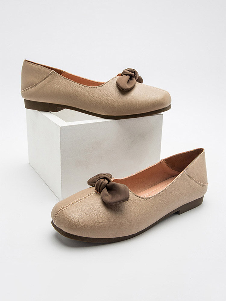 Women Casual Bow Soft Leather 2 Wearing Way Ballet Flat Shoes