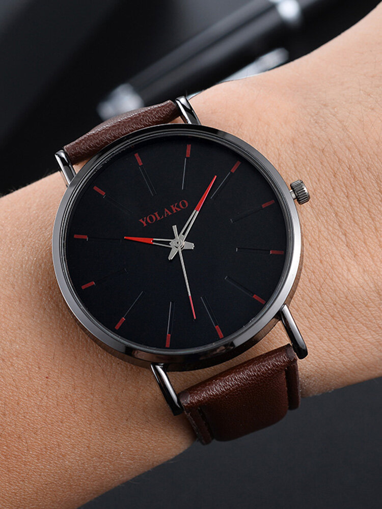 Sports Business Women Watch Large Three-Hand Smooth Dial Leather Band Calendar Quartz Watch