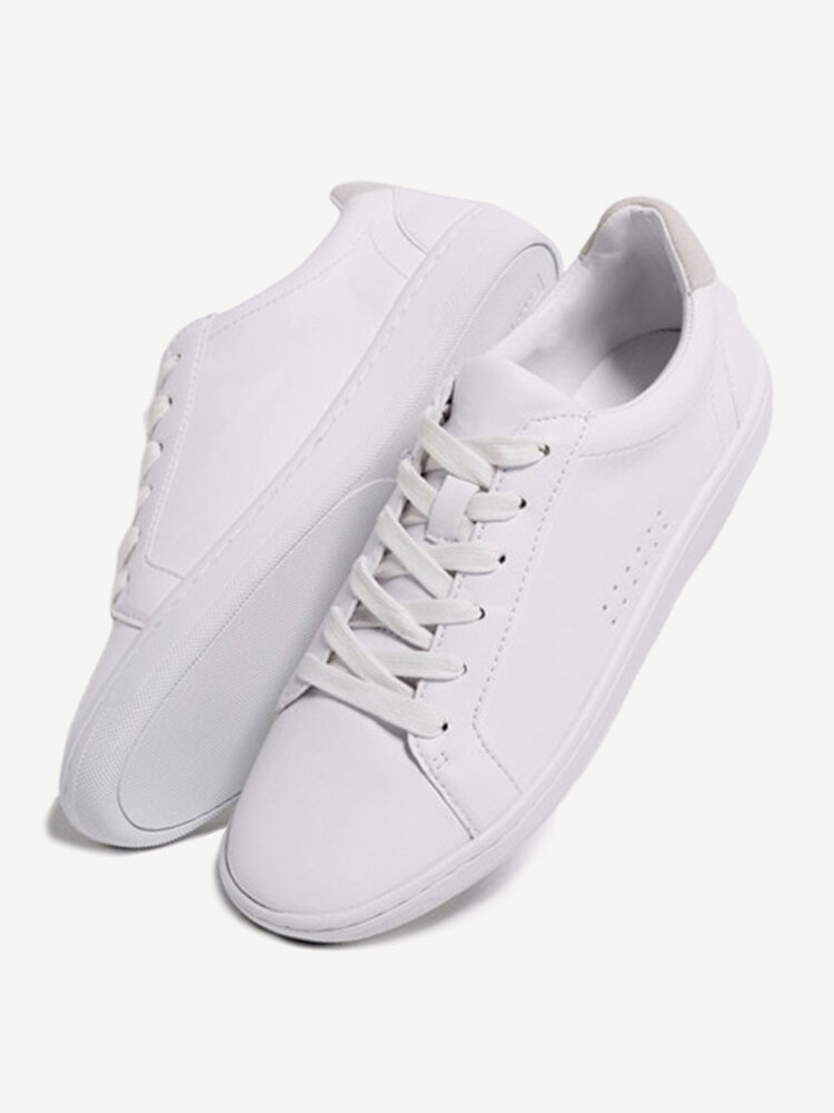 Pure Color Leather Lace Up Breathable Flat Casual Sport Sneakers