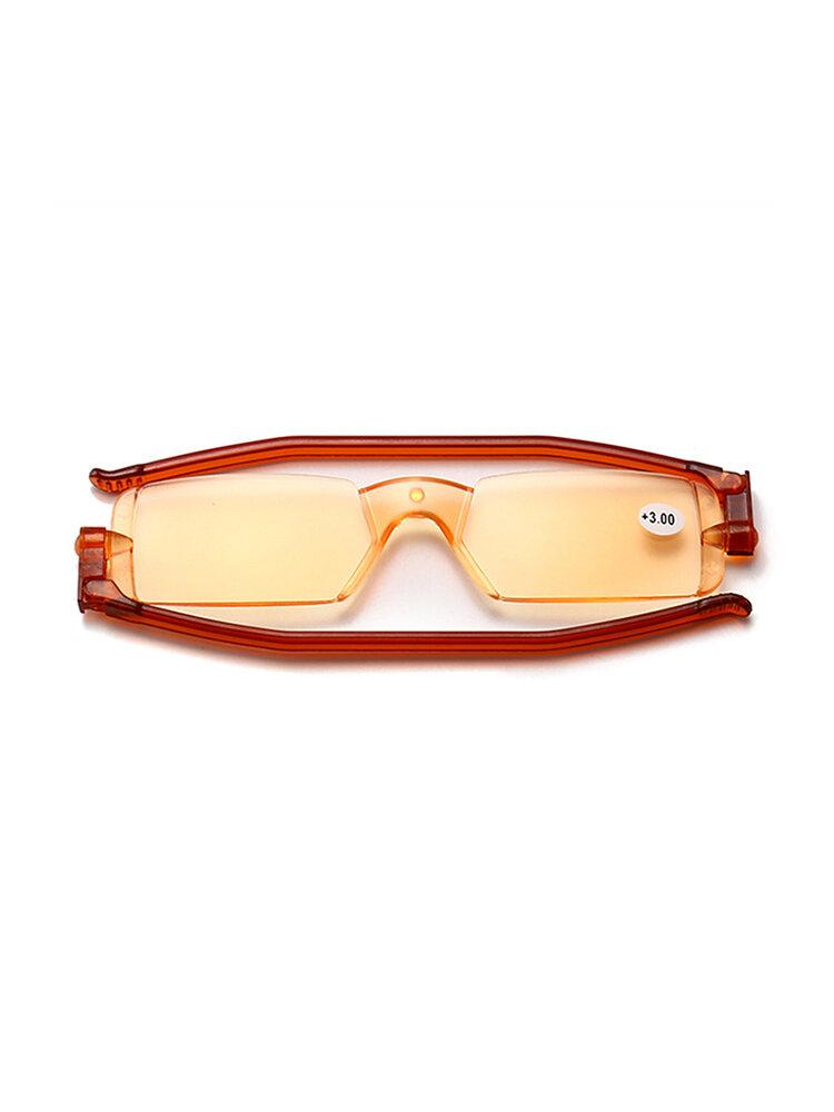 Men Women New Folding Rotatable Anti-blue Portable Fashion Rimless Transparent Reading Glasses