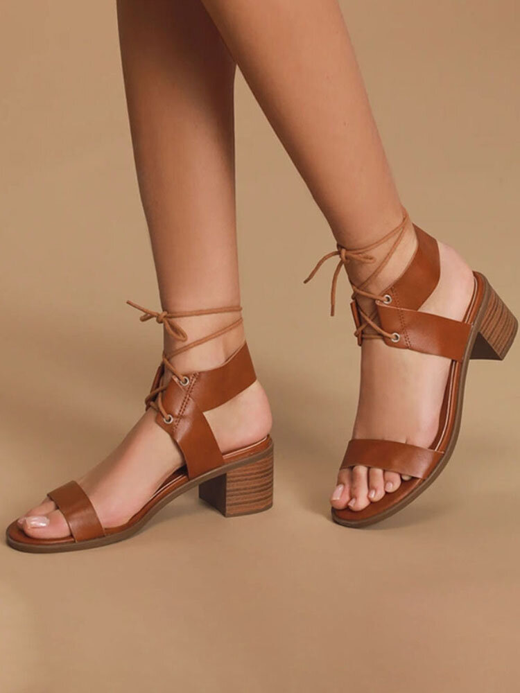 Women Fashion Comfy Ankle Strap Lace Up Chunky Heel Sandals