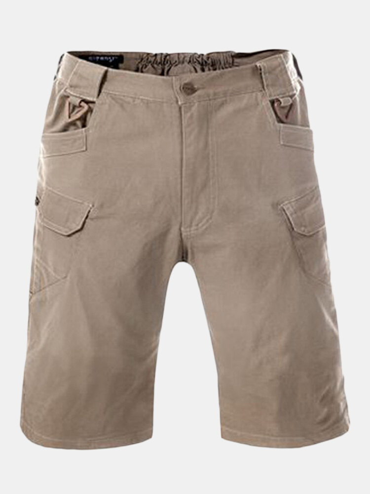 Mens Cotton Bresthable Solid Color Casual Summer Shorts Outdoor Cargo Shorts