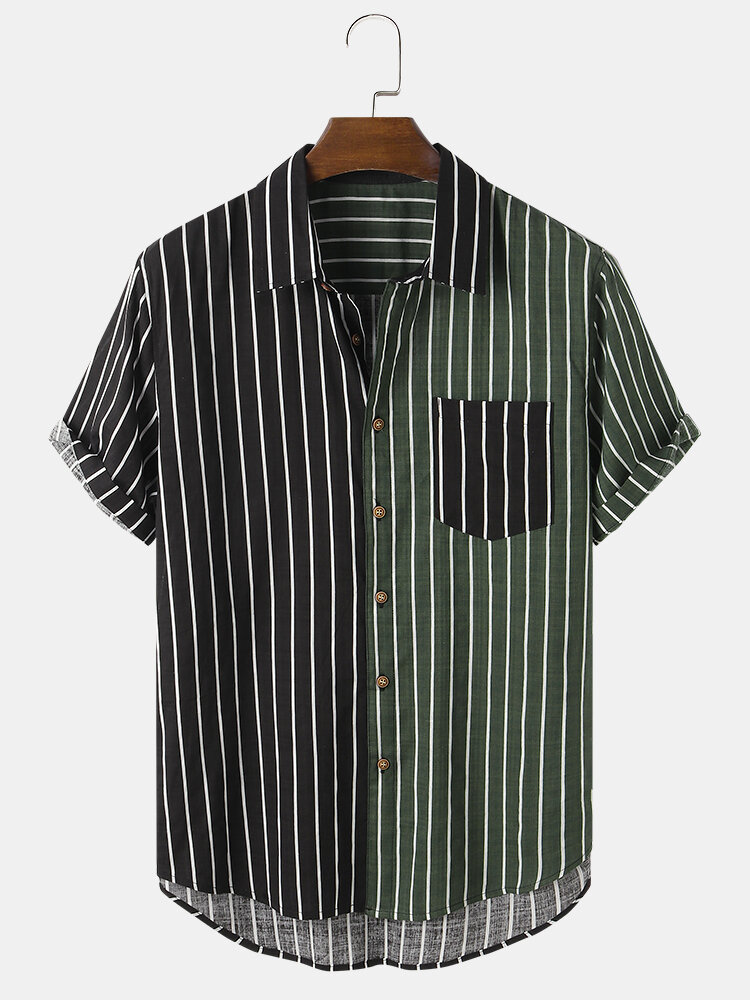 Mens Contrast Stripe Patchwork Cotton Casual Short Sleeve Shirts