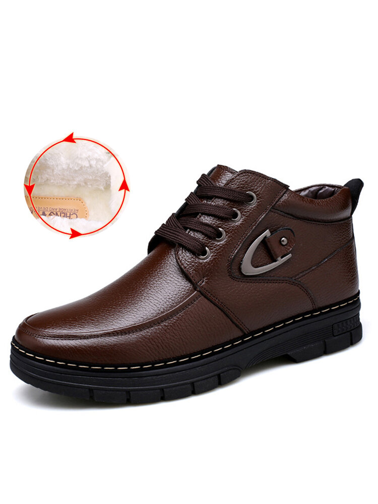 Men Genuine Leather Non Slip Warm Lining Metal Buckle Casual Boots