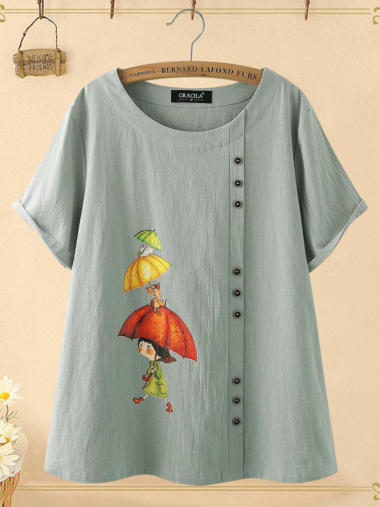 Cartoon Katze Print Kurzarm Overhead 100% Baumwolle T-Shirt für Damen
