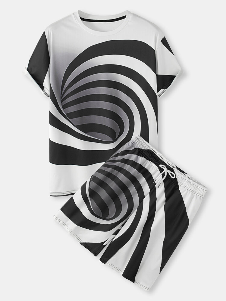 Mens 3D Abstract Stripe Printed Drawstring Shorts Street Two Pieces Outfits