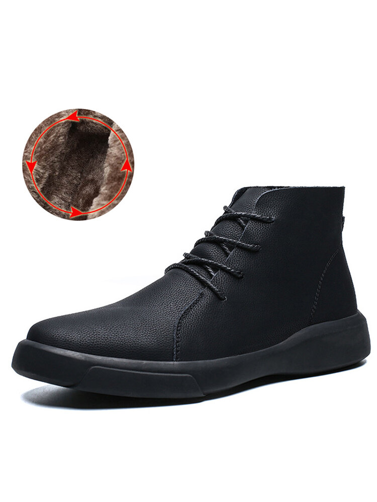Men Vintage Waterproof Comfort Warm Lining Lace Up Ankle Leather Boots