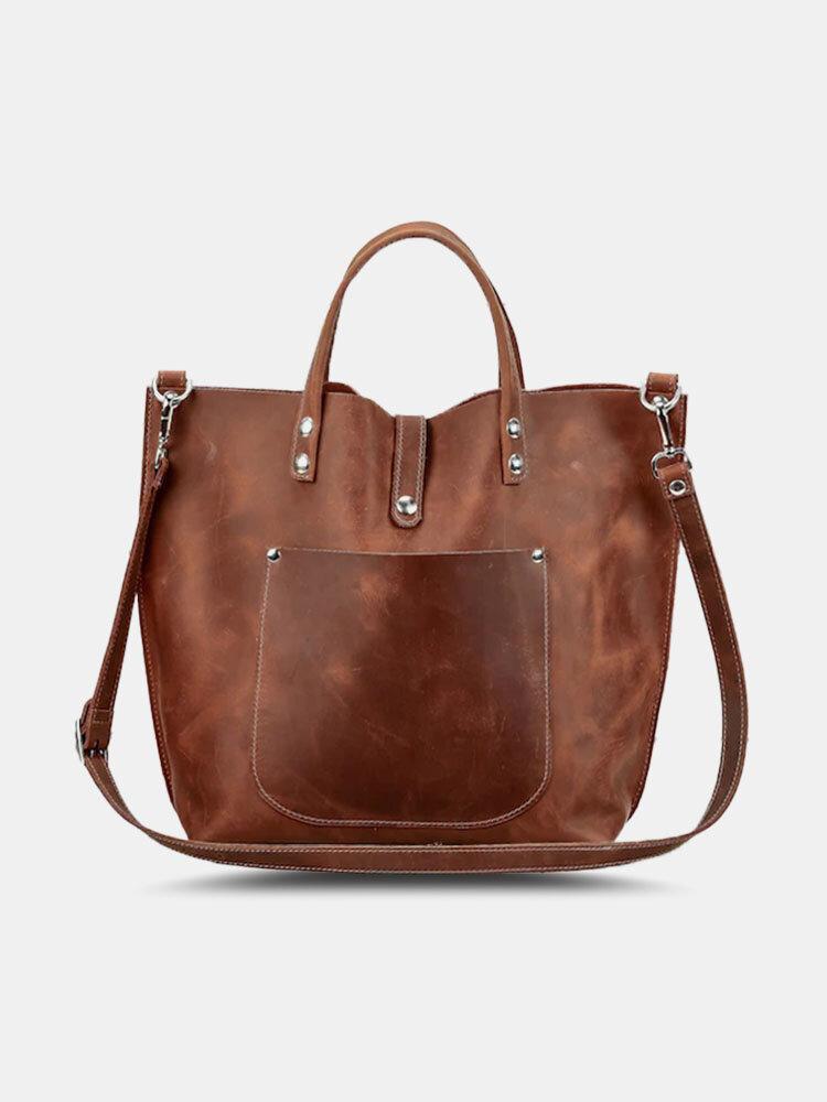 Women Retro Faux Leather Practical High Capacity Tote Handbag