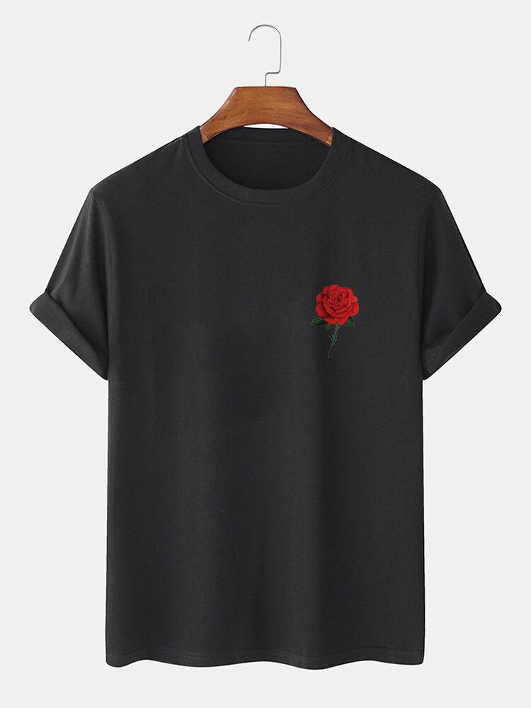 Mens Rose Chest Print Crew Neck 100% Cotton Short Sleeve T-Shirts
