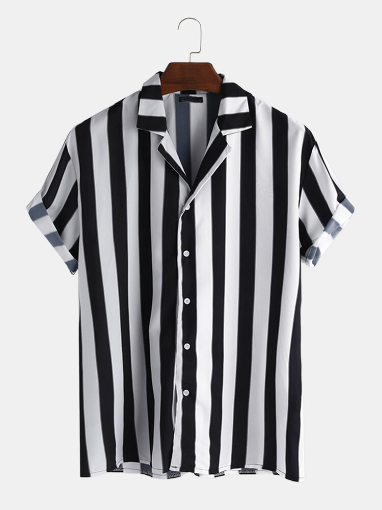 Mens Striped V Neck Button Down Short Sleeve Shirt