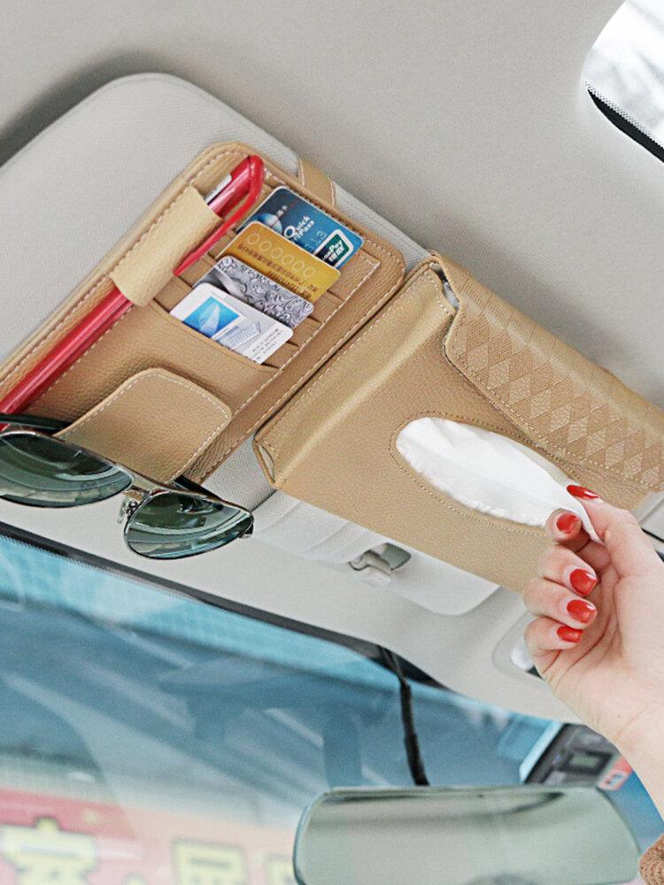 Multifunctional Leather Car Storage Bag Visor Cover Card License Holder Hanging Tissue Bag Glasses Folder