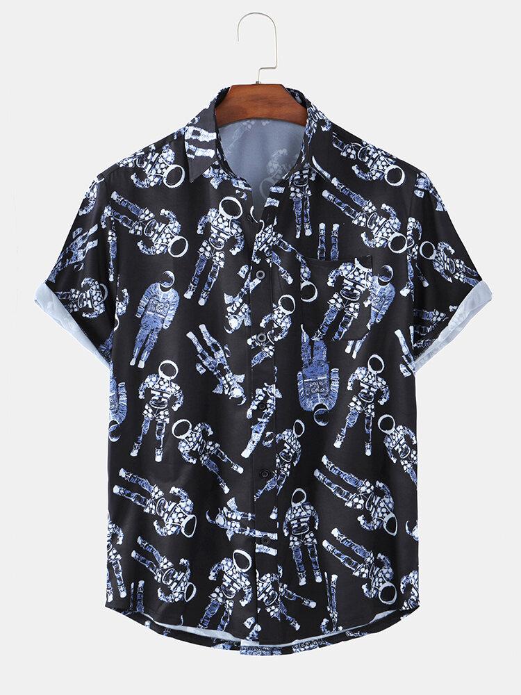 Mens Astronaut Pattern Print Short Sleeve Light Summer Shirts