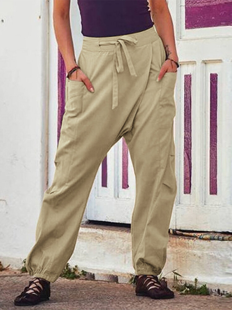 Drawstring Elastic Cuff Casual Drop-crotch Plus Size Pants With Side Pockets