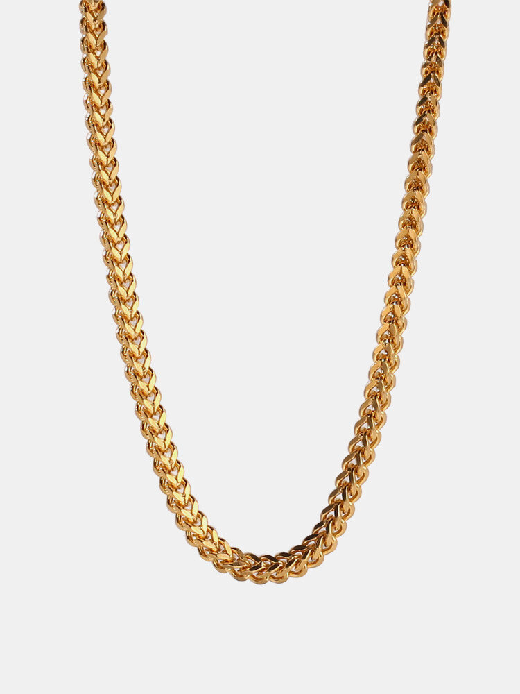 Trendy Brief Positive And Negative Chain Stainless Steel Necklace