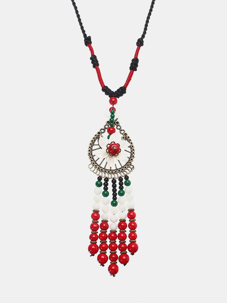 Women's Ethnic Necklace Tassel Beads Flower Retro Necklace