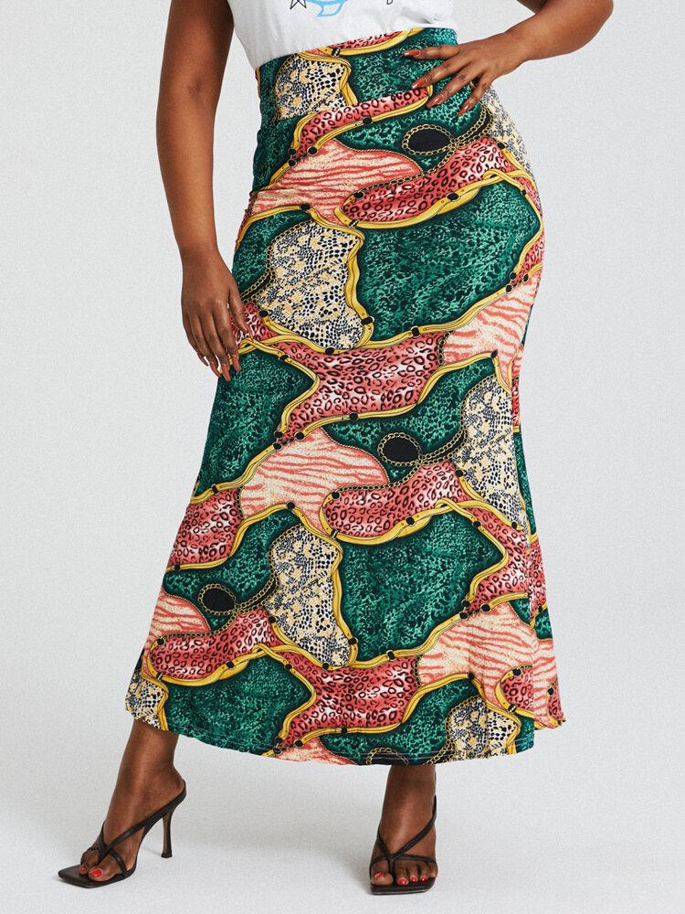 African Style Ethnic Print Buttocks High Waist Bodycon Long Skirt