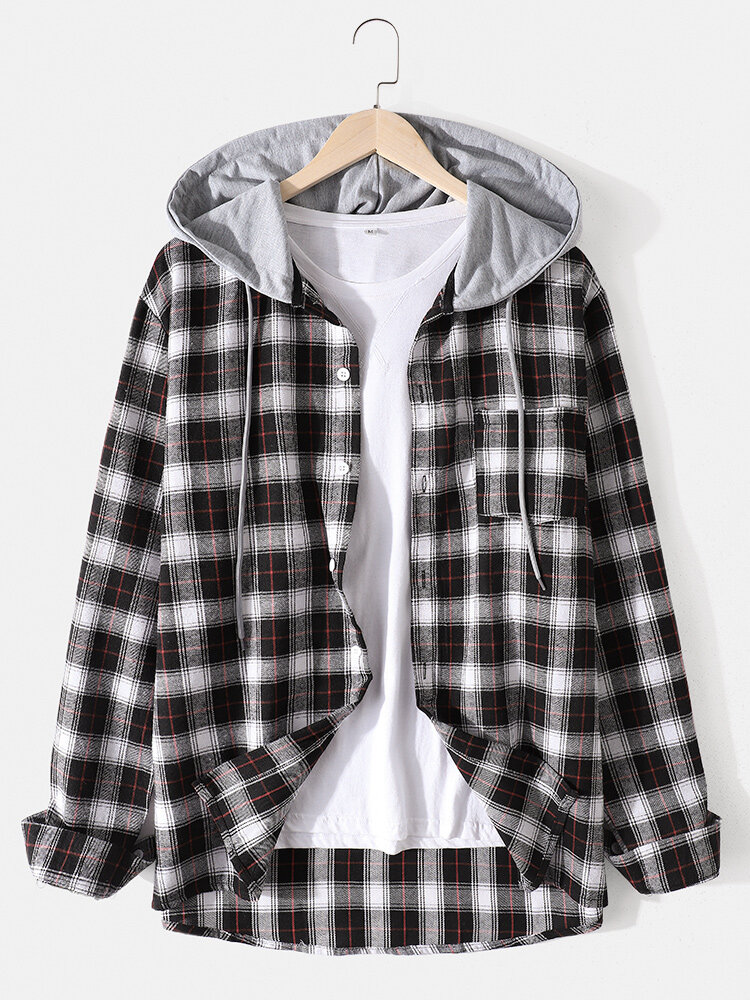 Mens Cotton Plaid Button Up Long Sleeve Casual Drawstring Hooded Shirts