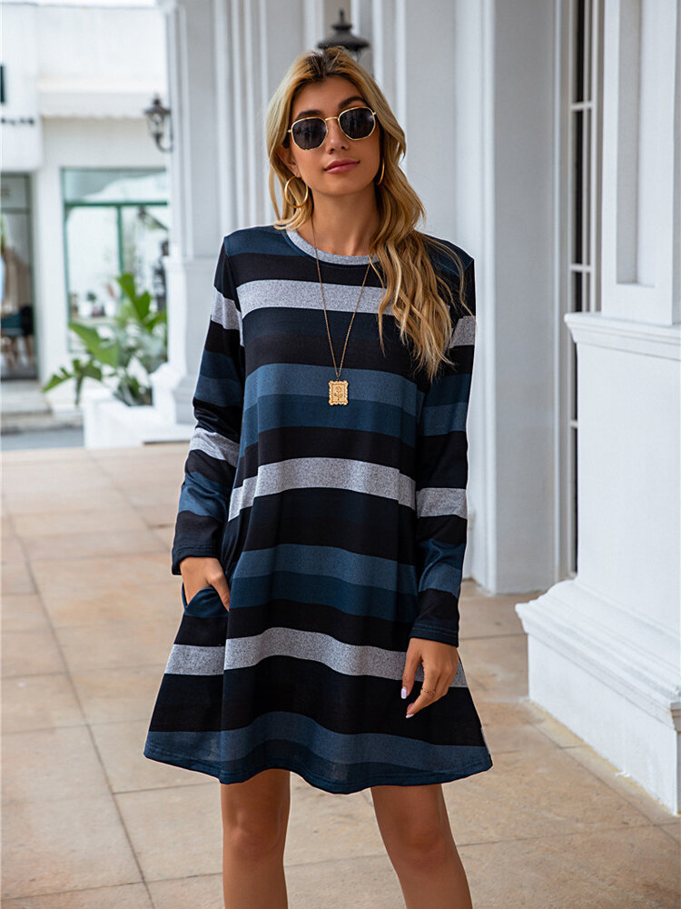 Striped O-neck Long Sleeve Plus Size Casual Dress for Women