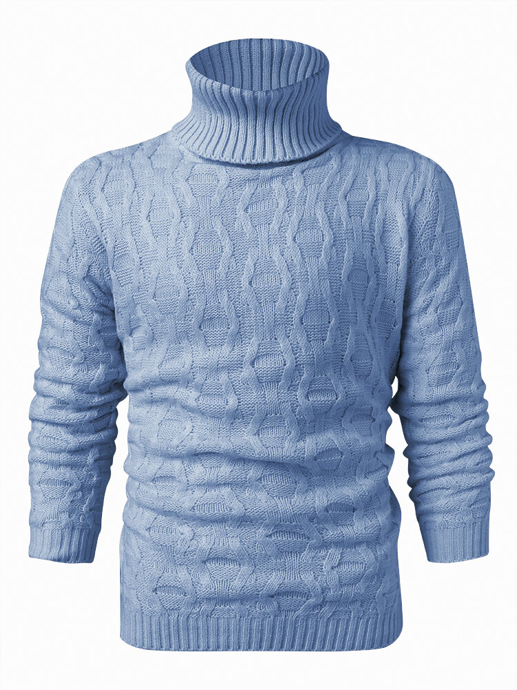Mens Solid Color Twisted Cable Knit High Neck Slim Fit Casual Sweater