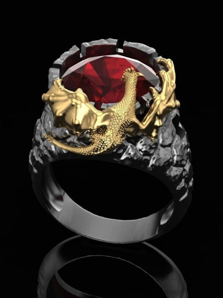 Vintage Two-Color Men Ring Punk Dragon Gem Women Ring Jewelry Gift