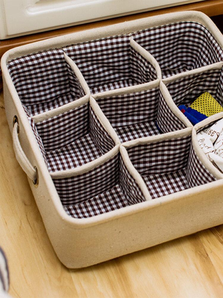 Thicken Cotton Linen Art Storage Basket Home Supplies Underwear Storage Box