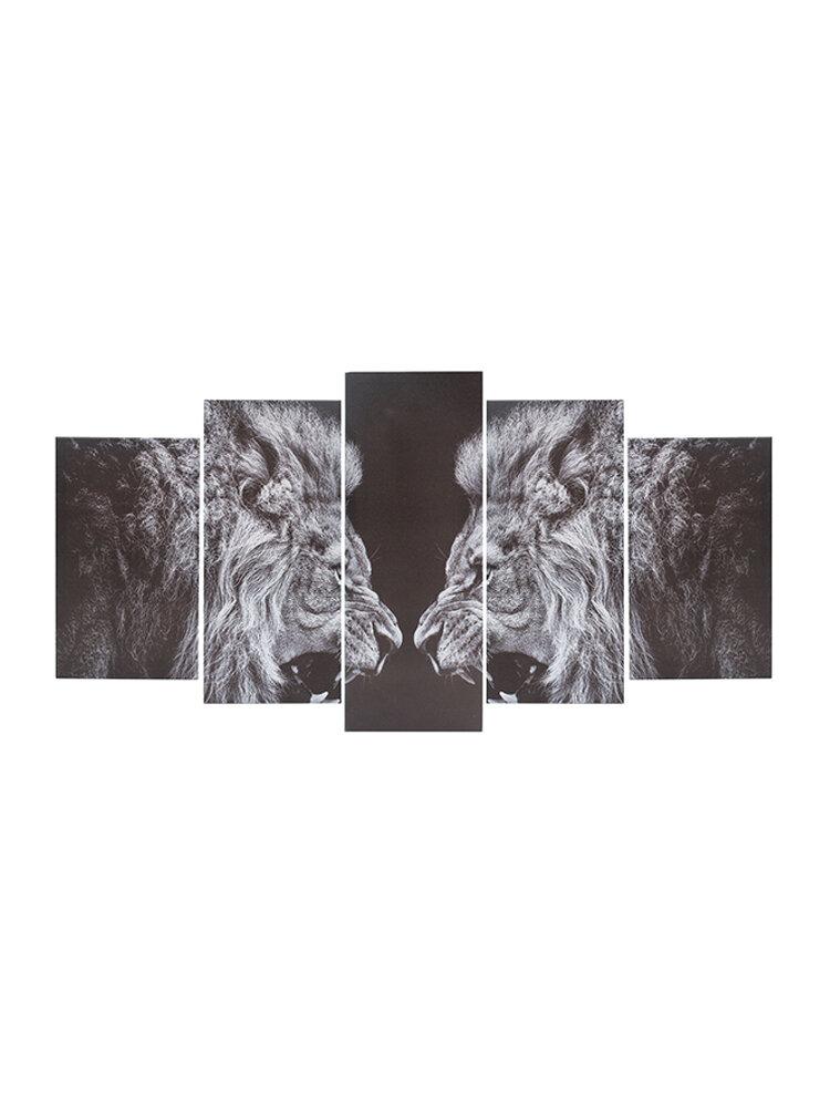 5PCS Framed Canvas Roar Leo Lion King Animal Abstract Wall Decor