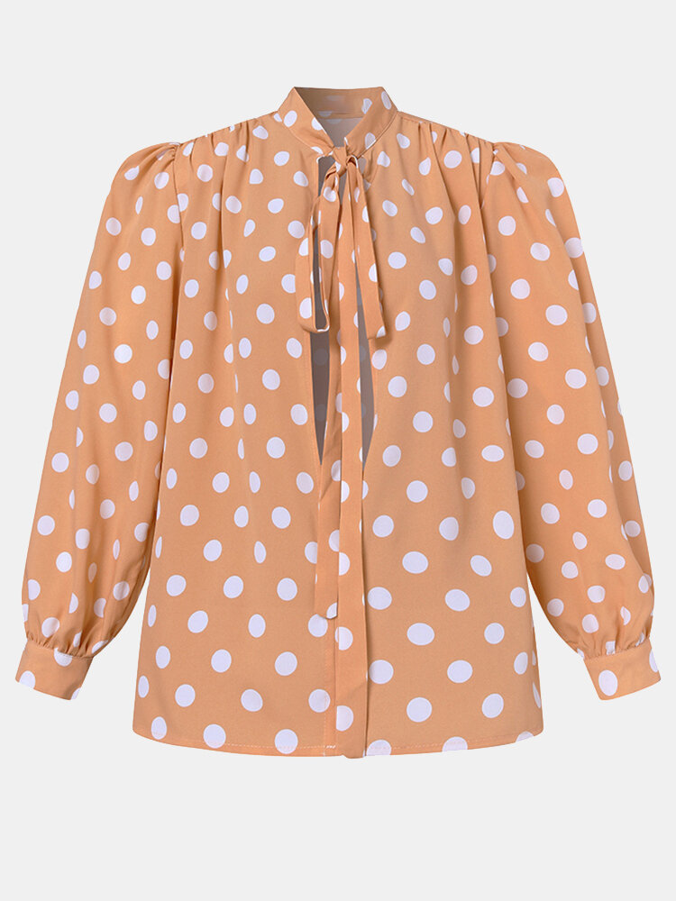 Dot Print Puff Long Sleeve Loose Knotted Blouse For Women