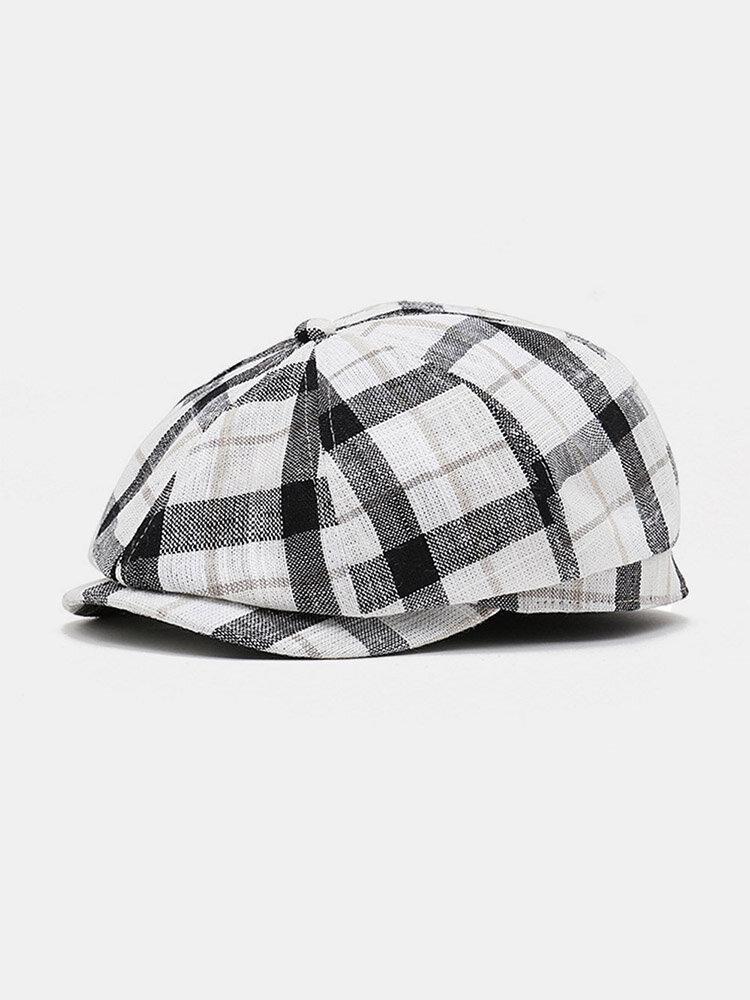 Men Linen Colorful Lattice Pattern Octagonal Hat Beret Flat Hat