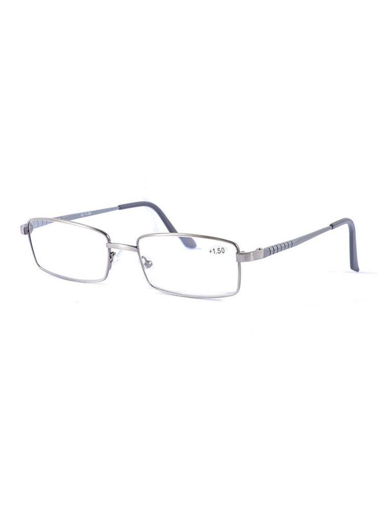 Mens Vintage Casual Comfortable Presbyopic Glasses Metal Square Frame Reading Glasses