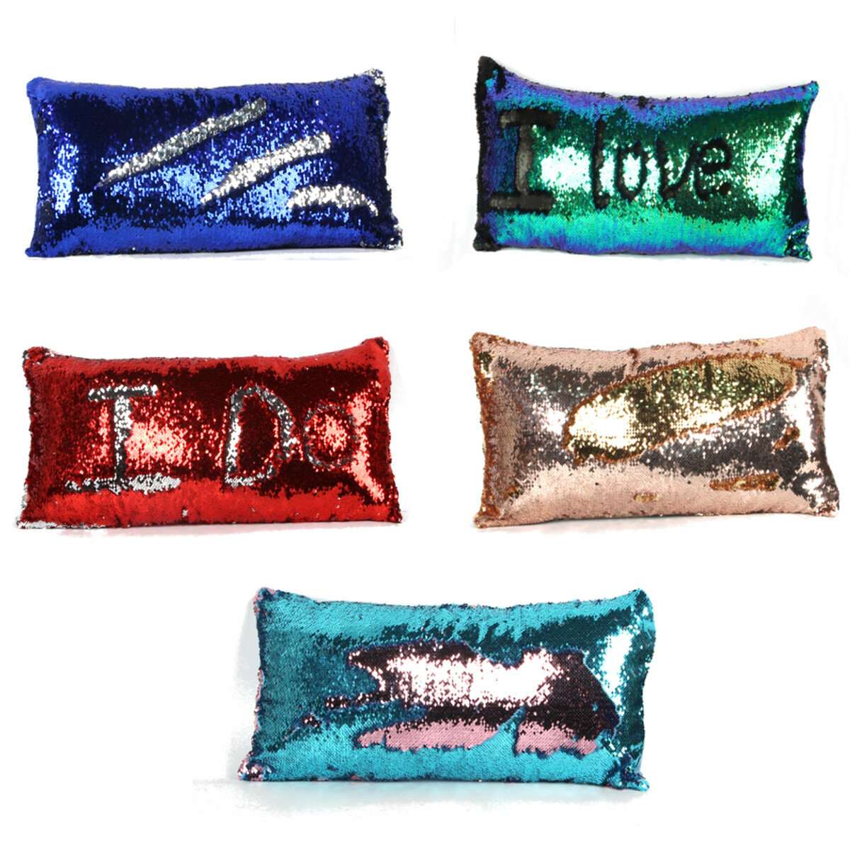Double Color Reversible Mermaid Sequin Pillow Cover Glitter Sofa Cushion Case