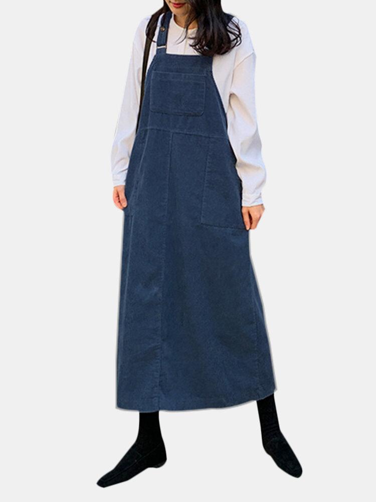 Vintage Corduroy Solid Color Pockets Back Slit Hem Strap Dress