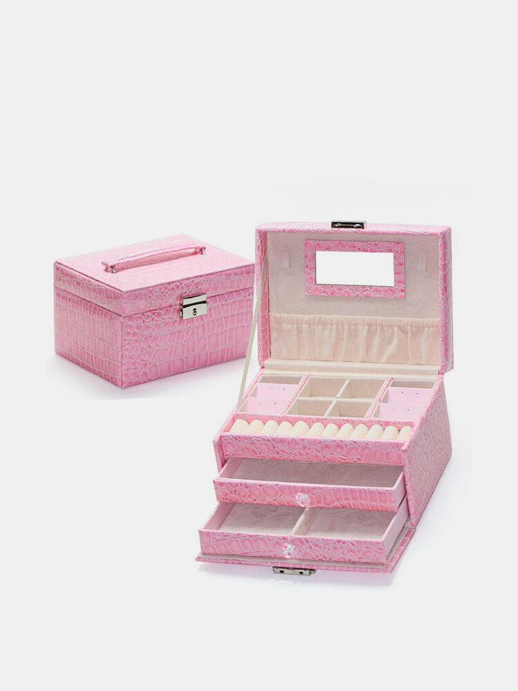 Leather Jewelry Storage Organizer 3 Layers Cosmetic  Container DIY Portable Gift Box