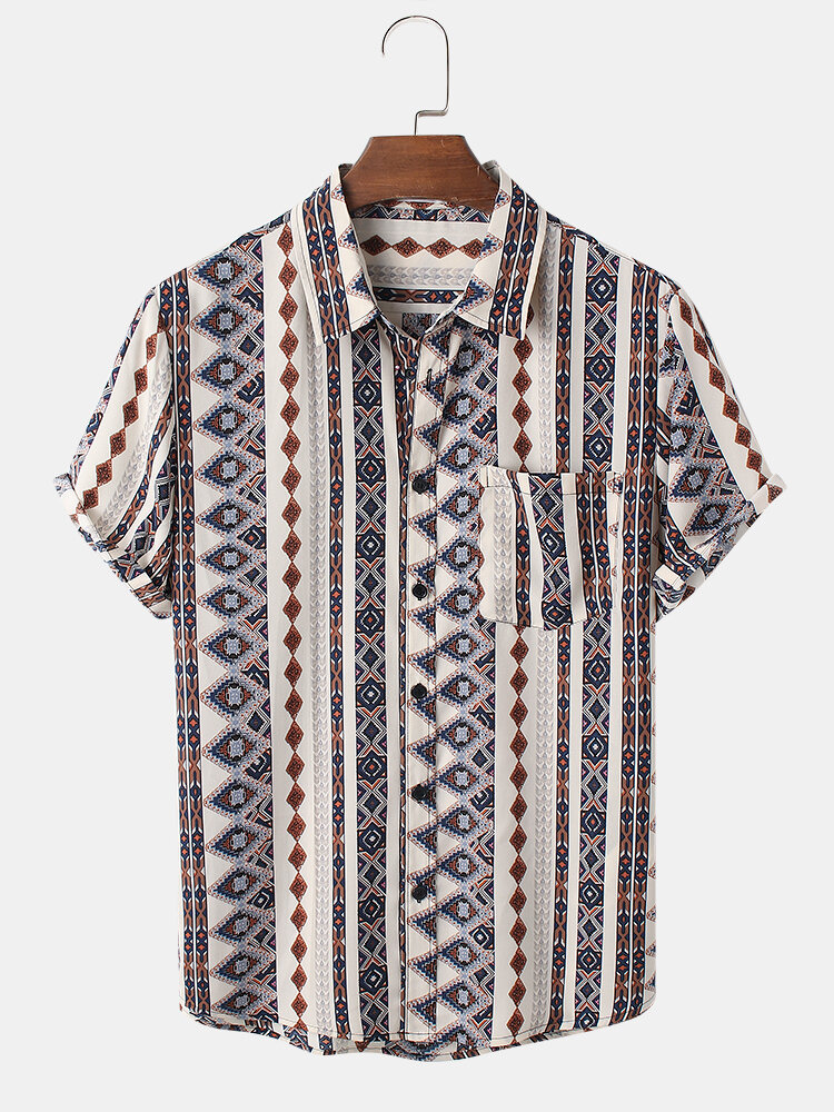Mens Tribal Geometry Stripe Pattern Short Sleeve Shirt With Pocket