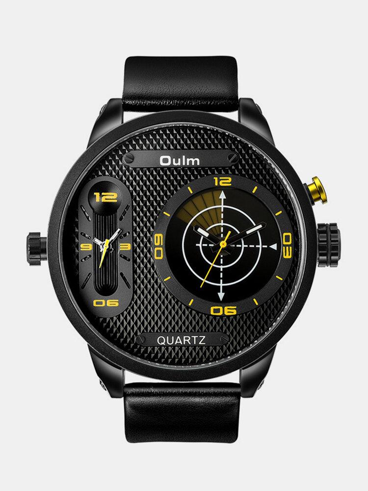Vintage Men Watch Large Dial Dual Time Zone Waterproof Leather Quartz Watch