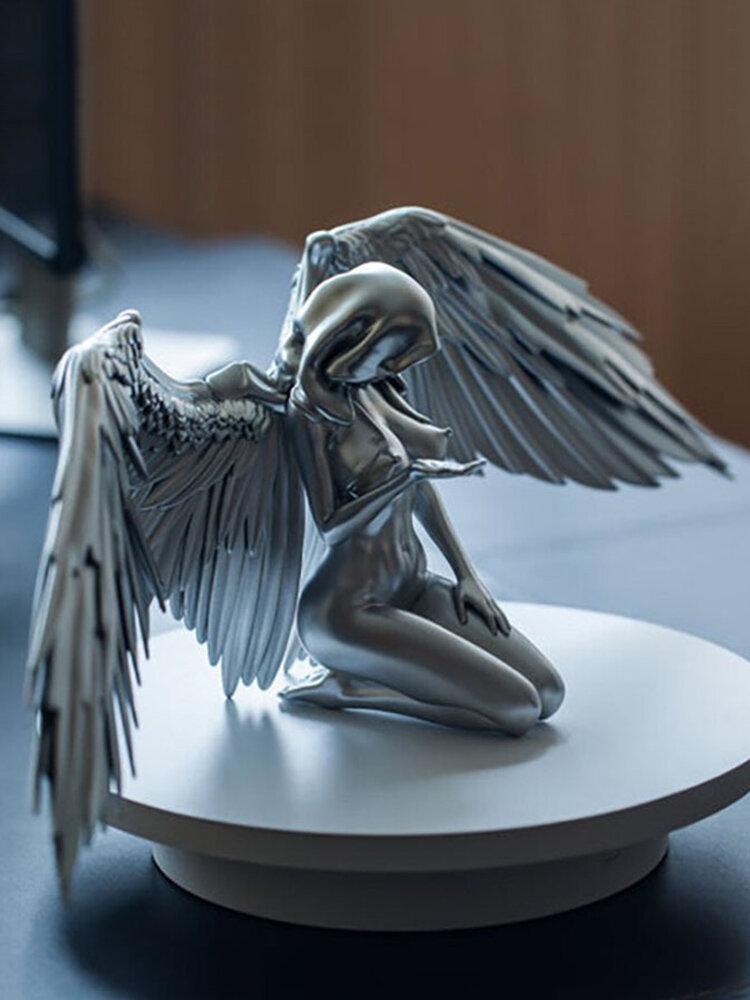 1PCレジンニーリングウェアマントハットリデンプティブ3D女性アングルアートクラフト屋内と屋外のクリエイティブなミニチュア彫刻の装飾