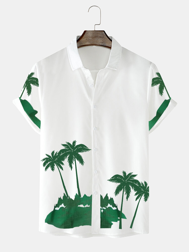 Mens Coconut Tree Print Button Up Holiday Cotton Short Sleeve Shirts