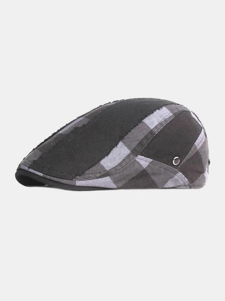 पुरुषों प्लेड पैटर्न पैचवर्क रंग आकस्मिक फैशन Sunvisor फ्लैट टोपी फॉरवर्ड टोपी बेरेट टोपी
