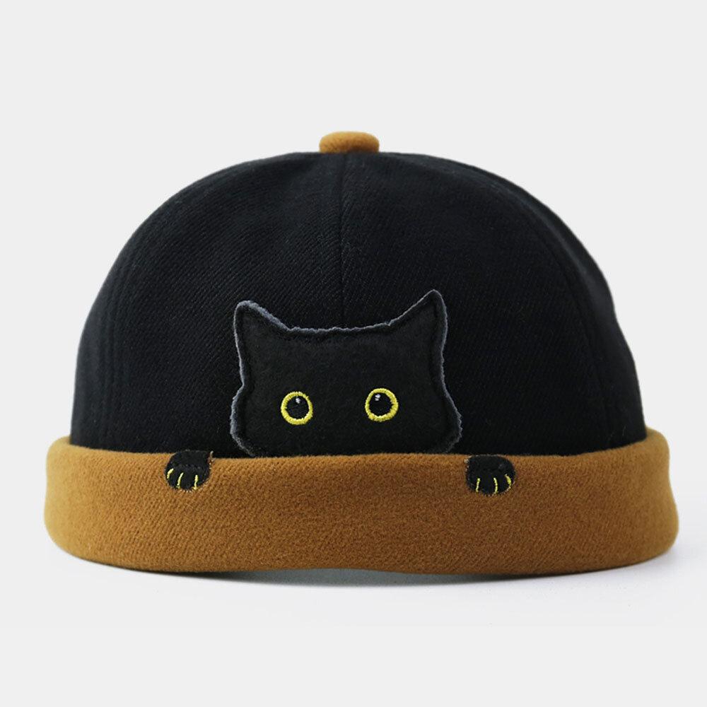 COLLROWN Women & Men Landlord Hat Street Cat Pattern Melon Cap Innocent Standard Sailor Skull Caps Brimless Hats