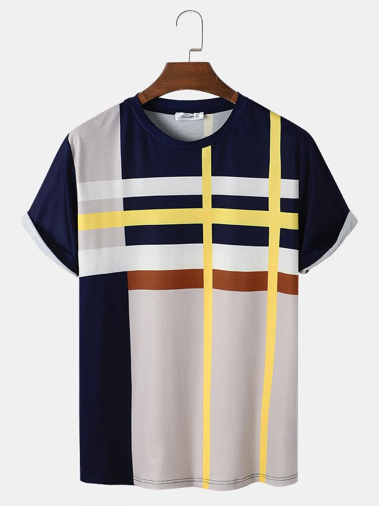 Mens Color Block Round Neck Short Sleeve Preppy T-Shirt