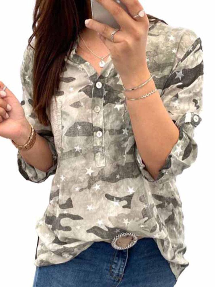 Stars Print V-neck 3/4 Sleeve Casual Shirt