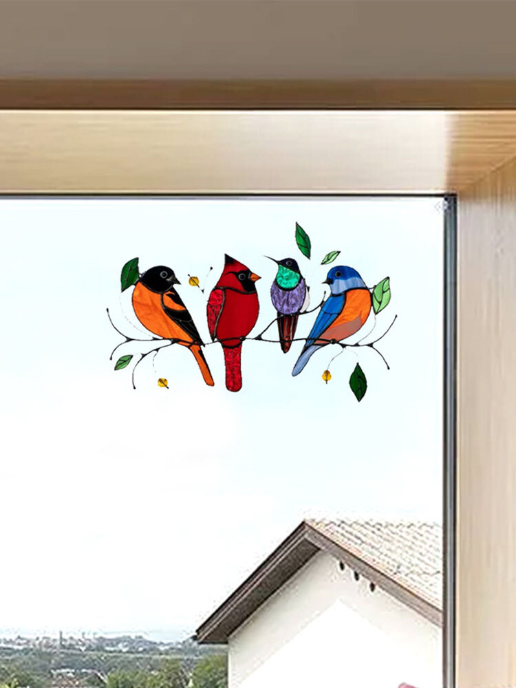 Colorful Multiple Birds Glass Window Wall Stickers Cartoon Shape Cute Gift Wallpaper Home Decor