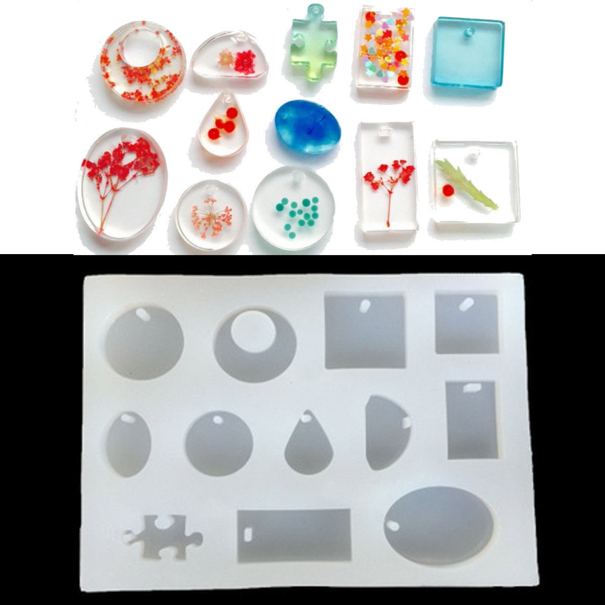 12 Mold Models Silicone Mold Resin DIY Pendant Jewelry Tools Accessories