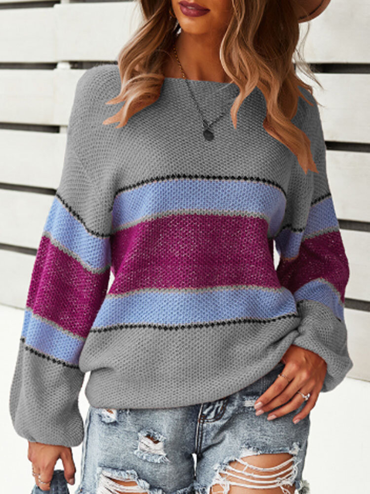 Contrast Color Long Sleeve Stitch O-neck Women Sweater