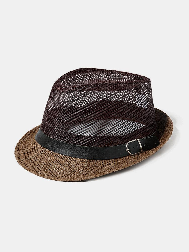 Mens Panama solide paille respirant Jazz casquette de voyage en plein air parasol mode chapeau de soleil