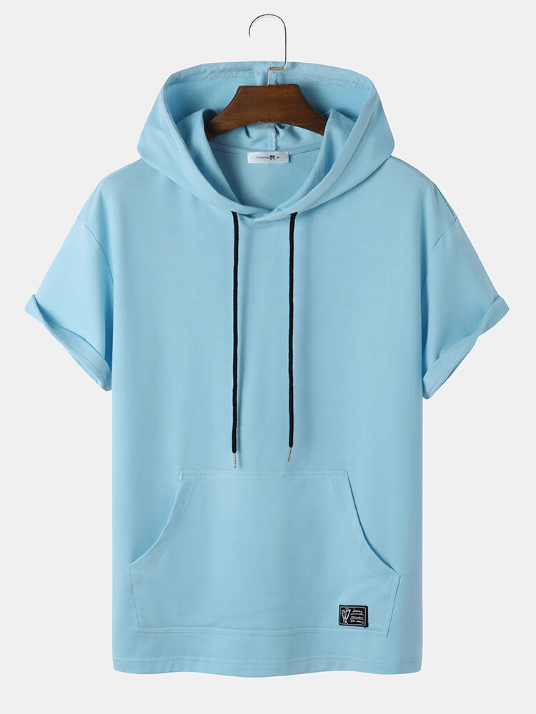 Mens Solid Pouch Pocket Loose Casual Short Sleeve Hooded T-Shirts