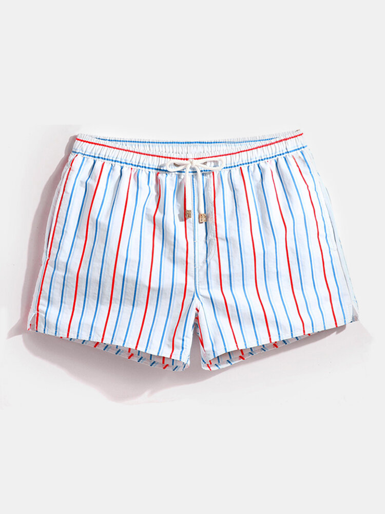 Men Stripe Swim Trunks Drawstring Quick Drying Mini Shorts Running Lounge Shorts with Lining
